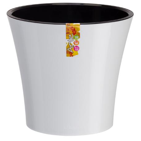 Горшок АРТЕ 0,6л белый-черный d11 h9,7 /Сантино/ (45)