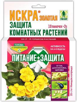 Искра золотая палочки для защиты комнатных растений 10 шт /ГринБэлт/