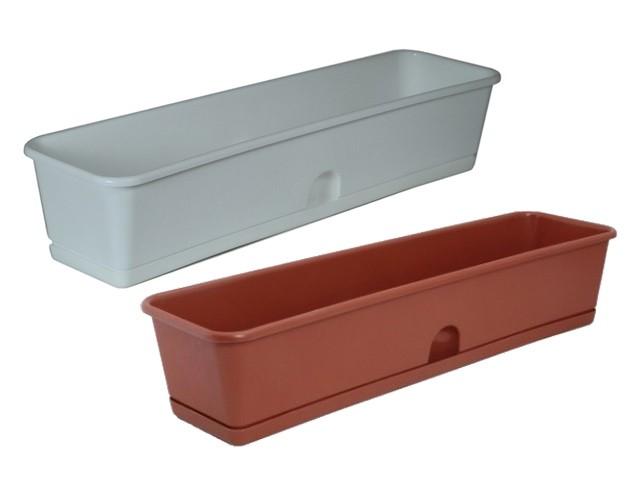 Ящик для рассады и цветов 600*150*120 с поддоном белый /ИнтерМ/