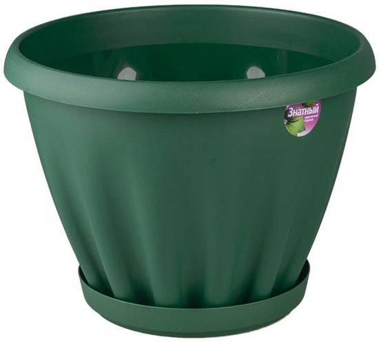 Горшок Знатный 6,7 л d270 темно-зеленый c поддоном /Материя Пластика/