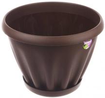 Горшок Знатный 0,45 л d110 шоколадный c поддоном /Материя Пластика/