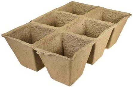 Торфяной горшочек 90*90 квадратный (блок 3х2=6шт.) /Экоторф/
