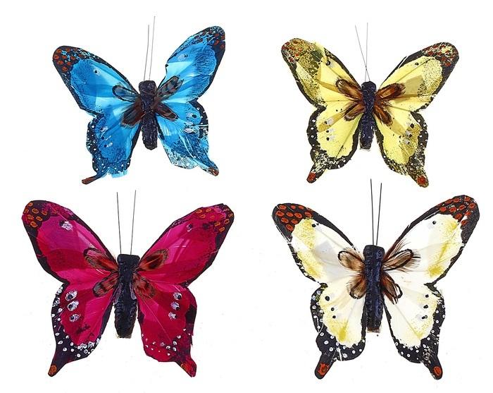 Бабочка на клипсе 8 см А2719 /Флора-Пласт/