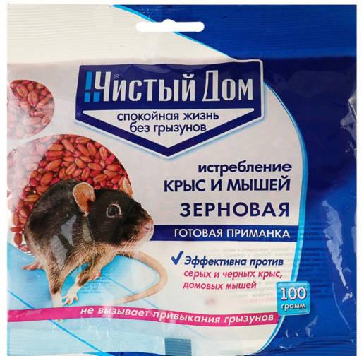 Зерновая приманка от крыс и мышей Форэт 100г /Чистый дом/
