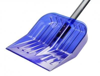 Лопата для снега из поликарбоната с черенком 430х420 синий /Альтернатива/ (3)